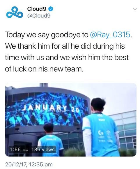 C9战队官宣:再见Ray,愿你在新的队伍一切顺利